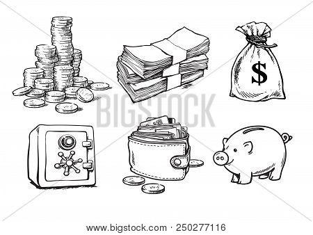 Finance, Money Set. Stack Of Coins, Sack Of Dollars, Paper Money, Bank Safe, Wallet, Piggy Bank. Ske