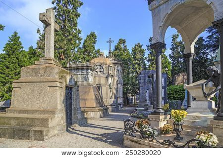 Milan, Italy - May 17, 2018: This Is One Of The Alleys On The Monumental Cemetery, Which Is Consider