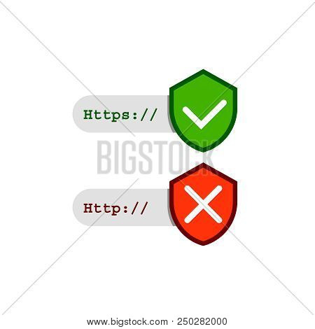 Http And Https Secure And Mot Safe Protocol Vector