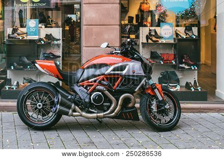 Strasbourg, France - Oct 28, 2017: New Ducati Diavel Motorcycle Parked On A French Street Near Showc