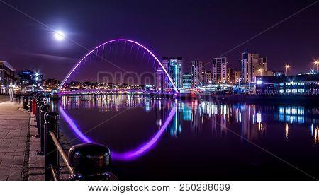 Newcastle upon Tyne - 12 November 2011 - Millennium Bridge under Night Sky and Full Moon, Newcastle upon Tyne, UK