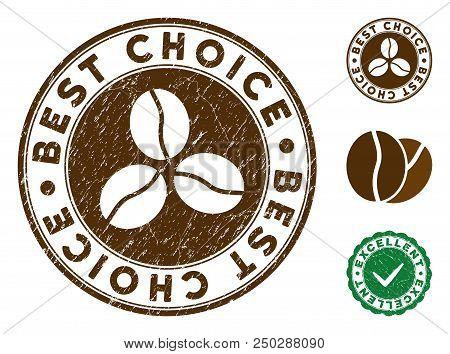 Best Choice Brown Stamp. Vector Seal Print Imitation With Grunge Style And Coffee Color. Round Vecto