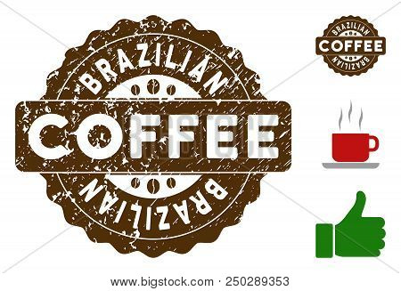 Brazilian reward medallion stamp. Vector seal with grunge surface and coffee color for rubber stamps imitations. Brown rubber seal stamp with grunge design of Brazilian caption. poster