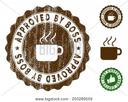 Approved By Boss medallion stamp. Vector seal watermark imitation with grunge style and coffee color. Brown rubber seal stamp with grunge design of Approved By Boss caption. poster