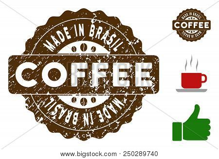 Made In Brasil Award Medallion Stamp. Vector Seal With Grunge Style And Coffee Color For Rubber Stam