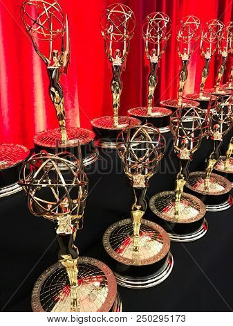 LOS ANGELES - APR 27: Emmy statues are on display on April 27, 2018 in Los Angeles, California