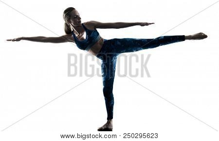 one caucasian woman exercising fitness Yoga excercises in silhouette isolated on white background