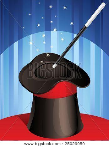 magic hat and magic wand - raster version