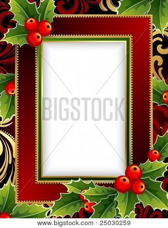 Christmas frame with holly