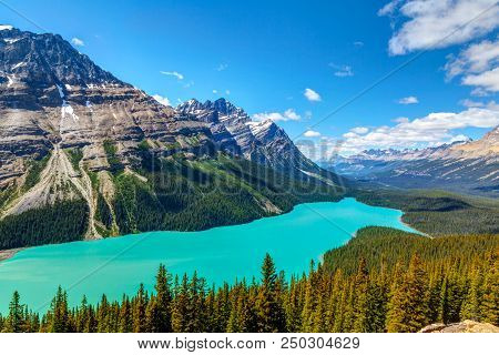 Peyto Lake As Viewed From Bow Summit In Banff National Park On The Icefields Parkway. The Glacier-fe