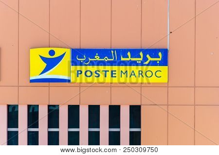 Marrakech, Morocco - June 3, 2018: Logo And Sign Of Poste Maroc (moroccan Post Office).