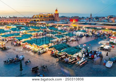 Marrakech, Morocco - June 4, 2018: Jemaa El-fnaa Square And Market Place At Dusk.