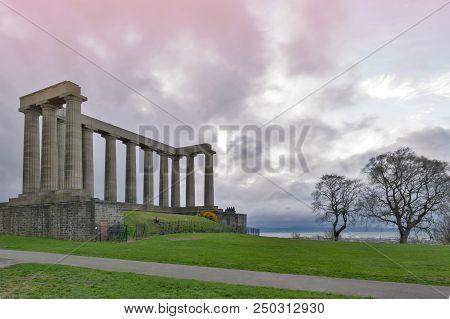 Edinburgh, Scotland - April 2018: The National Monument Of Scotland On Calton Hill In Edinburgh, A M