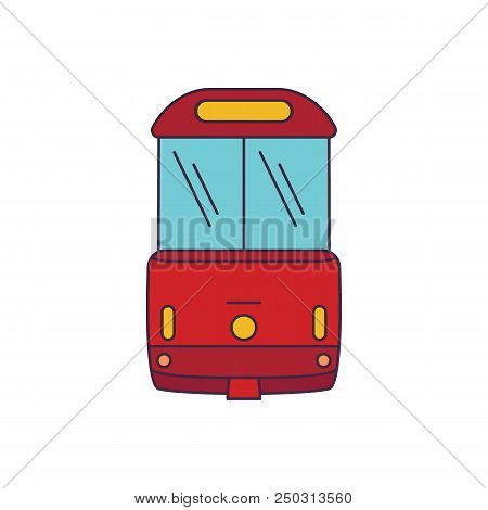 Tramway Icon. Cartoon Tramway Vector Icon For Web Design Isolated On White Background