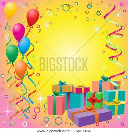 Balloon Background with Streamers and Gift Boxes