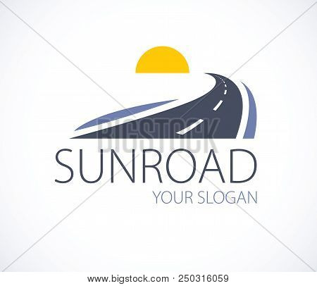 The Road To The Setting Sun, Curved Highway Vector Perfect Design Illustration Or Logo. Camping, Tra