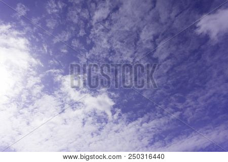 Peaceful Heavenly Background - Light From Heaven, Bright Sunlight From Above In Blue Sky