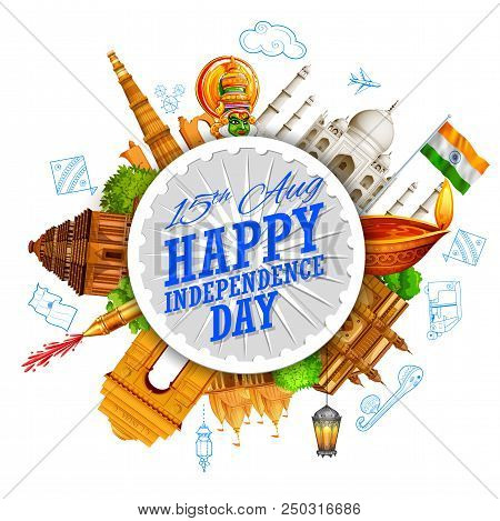 Illustration Of Famous Indian Monument And Landmark For Happy Independence Day Of India For Happy In