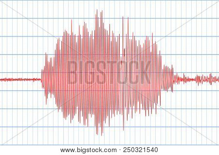 Seismogram Of Different Seismic Activity Record. Seismic Tremors Sign