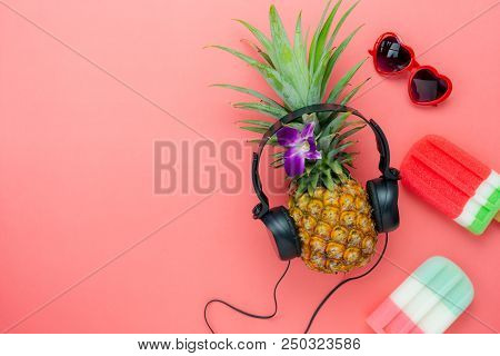 Table Top View Aerial Image Of Food For Summer Holiday Season & Music Background Concept.flat Lay Ic
