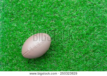 Table Top View Aerial Image Accessory Football Season Background.flat Lay Object American Ball On Th