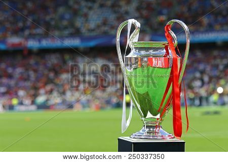 Kyiv, Ukraine - May 26, 2018: Uefa Champions Laegue Trophy (cup) Presents Before The Final Game Betw