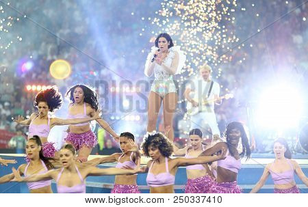 Kyiv, Ukraine - May 26, 2018: Dua Lipa Performs On Stage During The 2018 Uefa Champions League Final