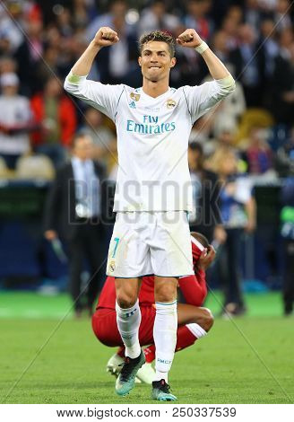 Kyiv, Ukraine - May 26, 2018: Cristiano Ronaldo Of Real Madrid Reacts After Win The Uefa Champions L