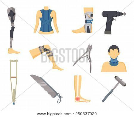 Orthopedics Tools And Instruments Colorful Poster Isolated Vector Illustration Of Human Body Parts I