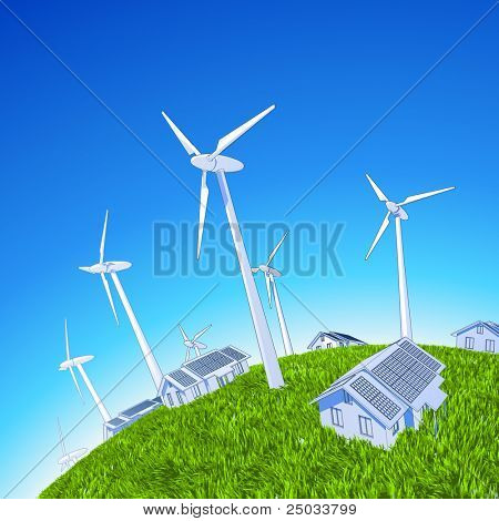 Ecology concept: wind-driven generators & houses with solar power systems. Bitmap copy my vector id 14974234