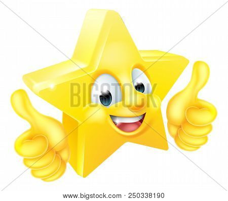 Cartoon Star Emoji Emoticon Mascot Character Giving Thumbs Up