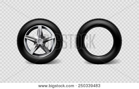 Stock Vector Illustration Realistic Car Wheels Set Tyre Bus, Truck Isolated On Transparent Checkered