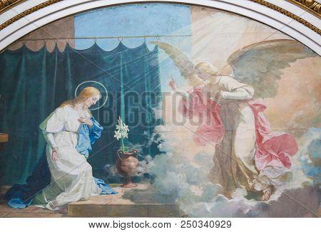 Annunciation Fresco In The Basilica Of Valencia