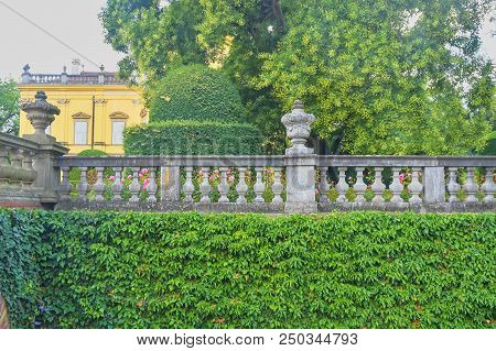 Buchlovice, Czech Republic - July 12, 2018: Seclusion With Balustrade In Site Of Buchlovice Castle,