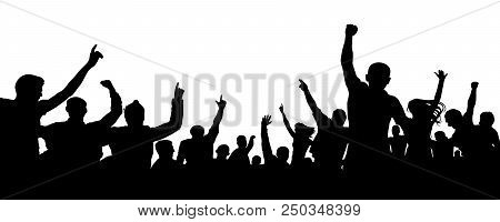 Crowd Of Cheerful People, Applause Silhouette Vector. Big Crowd With Lots Of People Cheering And Exc