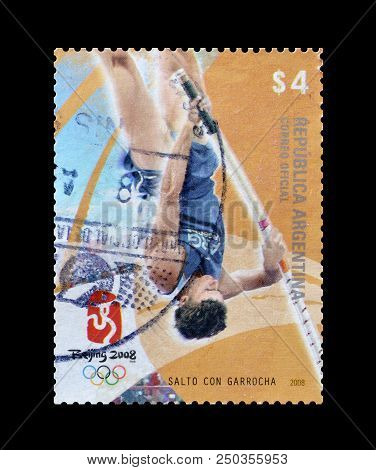 Argentina - Circa 2008 : Cancelled Postage Stamp Printed By Argentina, That Shows Pole Vault.