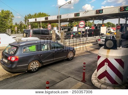 Drivers Wait To Pay Road Toll On The Highway