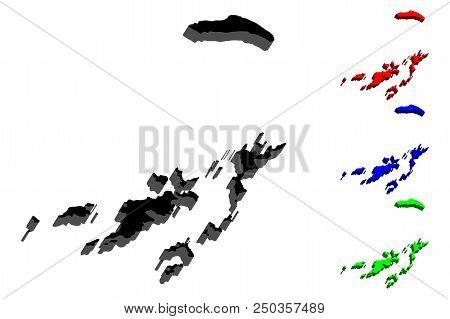 3d Map Of British Virgin Islands (british Overseas Territory, Virgin Islands Archipelago) - Black, R