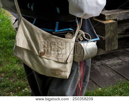 Historic attire of a gunner used during a re-enactment in the historic fortified town of Bourtange, Netherlands poster