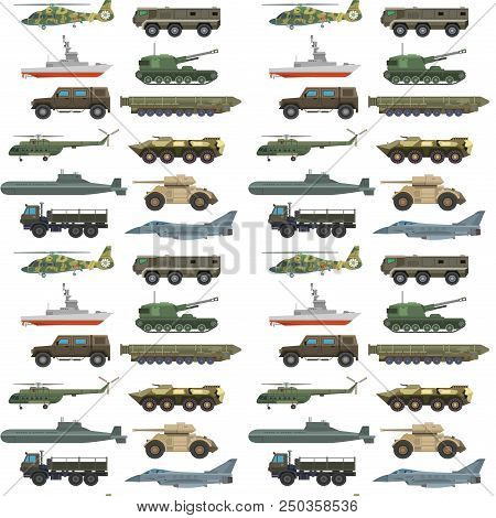 Military transport vector vehicle technic army war tanks and industry armor defense transportation weapon illustration. Exhibition fighting conflict weaponry system seamless pattern background. poster