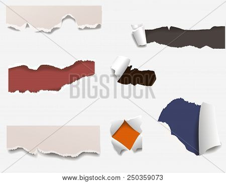 Torn Edges Paper Hole Lacerated Ragged Paper Edge And Crack Realistic 3d Style Vector Illustration C