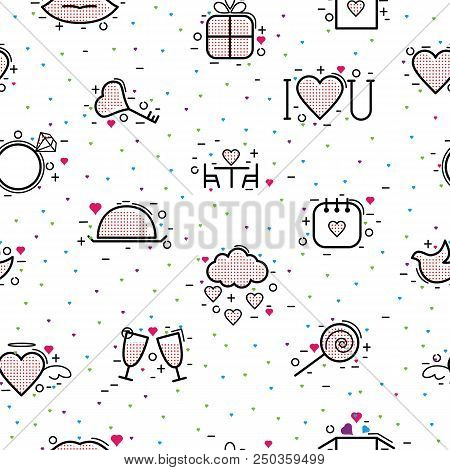 Valentines Day Icons Vector Heart In Love And Lovely Red Sign On Hearted Celebration And Greeting Ca