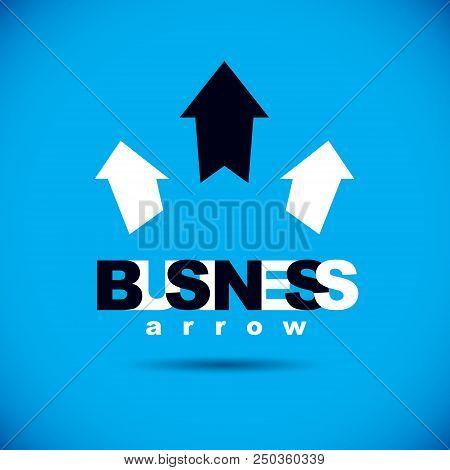 Vector Upward Trend Of Business Development. Corporate Development Logo. Company Growth Concept.