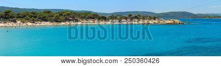 Vourvourou, Greece - July 22, 2016: Aegean Sea Coast Panorama And Karidi Or Karydi Beach (chalkidiki