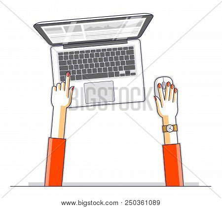 Office Worker Or Entrepreneur Business Woman Working On A Pc Computer Laptop, Top View Of Workspace