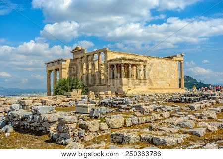 View Of The Erechtheion Temple At The Athens Acropolis In Athens Greece On A Warm Summer Day With Ly