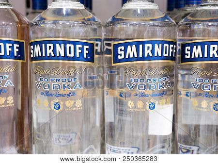 Amsterdam, Netherlands - July 18, 2018: Bottles Of Smirnoff Vodka In Duty Free Shop Airport. Blue La