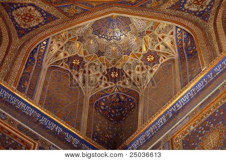Golden Interior Of Tilya Kori Madrasah