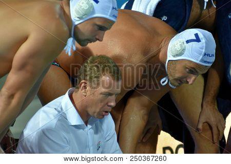 Budapest, Hungary - Jul 25, 2017. Marcz Tamas, Head Coach Of Hungary Men Waterpolo Team Talking To T