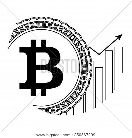 Growth Price Bitcoin Icon Linear. Arrow Up Chart And Coin Line. Vector Illustration